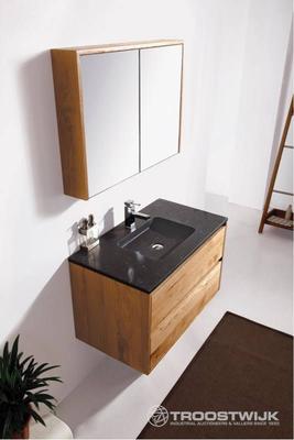Luxury wellness LW-BM-E-901N massief eiken badkamermeubel 1-persoons met spiegelkast