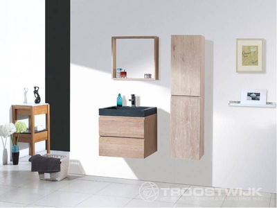 Luxury wellness LW-BM-E-604+ massief eiken badkamermeubel 1-persoons met hangkast